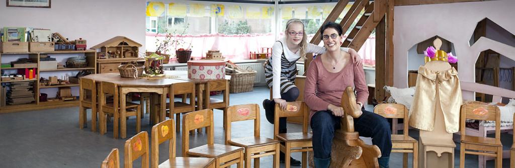 leerkracht Renate Does en leerling Jente de Vries, Vrije School Zaanstreek, Zaandam foto en copyright: Joost Grol